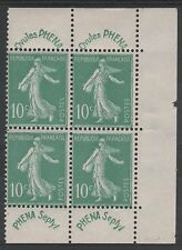 "FRANCE STAMP YVERT 188 "" SOWER 10c GREEN LABEL PHENA BLOC OF 4 "" MNH VVF N564"