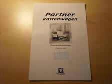 50698) Peugeot Partner Kastenwagen Preise & Extras Prospekt 02/2002