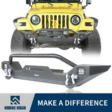 Black Front Bumper w/ Led Light for Wrangler Jeep TJ 1997-2006(Hooke Road)