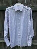 Ermenegildo Zegna 100% Cotton White Brown Green Stripe Dress Shirt 16 41 Spain