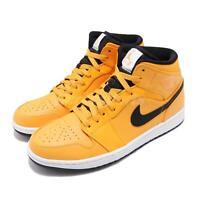 Nike Air Jordan 1 MID Taxi University Gold Yellow Black AJ1 Sneakers 554724-700