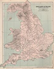1889 ANTIQUE MAP ENGLAND & WALES PHYSICAL FEATURES