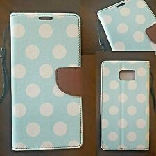 Wallet Leather Case Pu Cover White Green Dots For Samsung Galaxy Note II 2 3 4 5