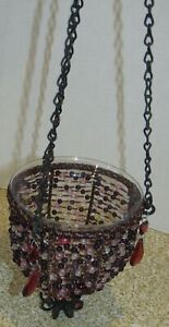 Purple Beaded Hanging Plant/Candle Holder Glass Lined