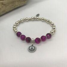 Bracelet PEACE Sign..! - Agate Stones & Silver plate beads 18cm