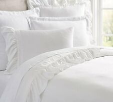 PIUBELLE Sheet Set QUEEN RUFFLED 4PCS Portugal SOLID WHITE