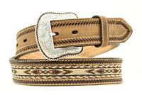Nocona Medium Brown Leather Mens Braided Horse Hair Belt