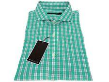 Sean John 100% Cotton Dress Shirt Blade Green Check Regular Fit 17 1/2 32-33 XL