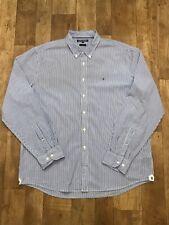 Tommy Hilfiger Blue & White Striped Button Down Long Sleeve Shirt XXL (A2)