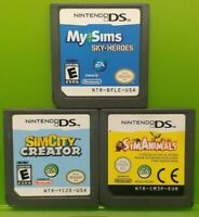 Nintendo DS Lite 2ds 3ds Game Lot SIM City Creator Sim Animals Sims Sky Heroes