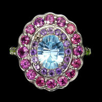 Oval Sky Blue Topaz Amethyst Rhodolite Chrome Diopside 925 Sterling Silver Ring