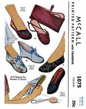 Fabric SLIPPER Shoe Sewing Pattern McCall # 1075 Vintage Travel BAG Slippers MED