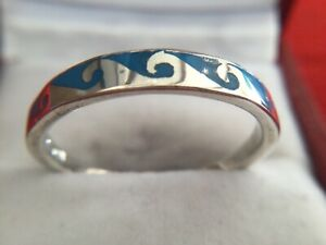 Unusual 925 Silver Ring With Blue Wave Pattern Size W Stamped 925 UBD