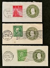 US #U420 Lot of 3 Cut Squares 1c Green Franklin 1917 Circle Date Cancels w/Stamp