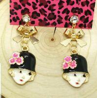 Hot Black Enamel Cute Girl Hat Bow Crystal Betsey Johnson Women Stand Earrings