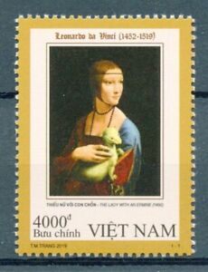Vietnam Art Stamps 2019 MNH Leonardo Da Vinci Lady with Ermine Paintings 1v Set