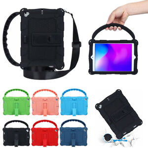 Fr Apple iPad Mini 1 2 3 4 Kids With Shoulder Strap Handle Stand Soft Case Cover