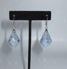 Chandelier Dangle Earrings Faux Crystal Plastic Sky Blue Silver Tone Statement