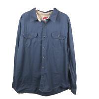 Wrangler Men's XL 100% Cotton Blue Long Sleeve Button Up Work Shirt