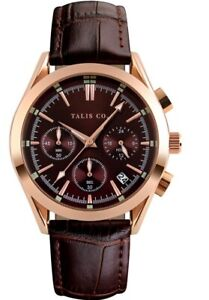 MENS TALIS Co Royal Chrono Watch - Rose Gold Colour Case - Coffee Dial - Leather