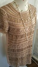 Vtg 1920,s style Jazz Age Gatsby nude pink gold beaded flapper dress size 12