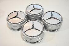 4 PC SET Mercedes Benz Wheel Raised Center Caps Dark Grey Silver Hubcaps 75MM