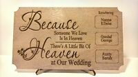 Memory Of Someone In Heaven Plaque Any Names Wedding Sign With Free Stand