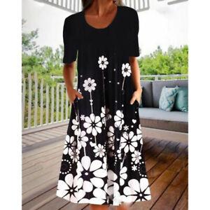 Women's Midi Dress Short Sleeve Dress Print Dress Sundress Floral Summer FA