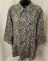 Liz Claiborne Womens Multi Color Floral Button Down Shirt Top Blouse Size 18W