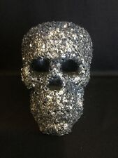 "Katherine's Collection 6"" Sequin Skull Head Halloween Table Decor Silver NEW"