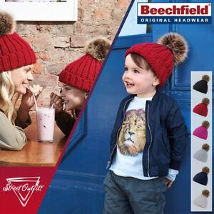 Kids Pom Pom Hat Boys Girls Beechfield Winter Faux Fur Bobble Junior Toddler
