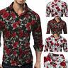 New Slim Men Luxury Long Sleeve Tops Tee Fit Casual Rose Flower Printed Shirts