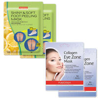 4pack Purederm Collagen Eye Zone Pad Patches + Shiny and Soft  Foot Peeling Mask