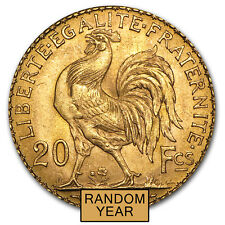 France Gold 20 Francs French Rooster Almost Uncirculated AU (Random Year)