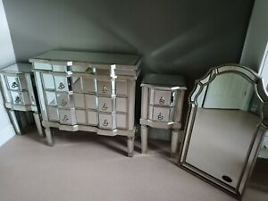MIRRORED CHEST OF 6  DRAWERS BEDROOM FURNITURE GLASS ANTIQUE SILVER