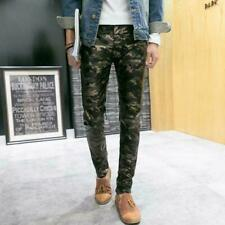 Mens slim fit Motorcycle camouflage Pu Leather outdoors Trousers casual Pants sz