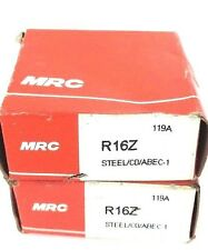 Lot Of 2 Nib Mrc R16Z Bearings Deep Groove Shielded One Side 1X2X1/2In