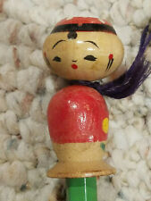 Vintage Lucky Doll Wood Bobble Head Pencil Red w Bell Hb Asian