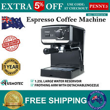 NEW Espresso Coffee Machine Maker with Italian Made ULKA Pump TODO Black 1.25L
