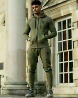 Gym King Mens New Designer Fleece Casual Zip Thru Hooded Full Tracksuit - Olive