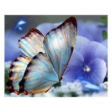 Blue Butterfly 5D Diamond DIY Painting Kit Home Decor Craft 30 X 25cm TN2F