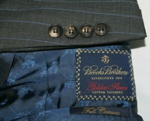 BROOKS BROTHERS 42R Suit Gray Striped Golden Fleece Wool Full Canvas Pants 35