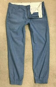 Levis 505 Regular Straight Chino Jeans Mens W33 L32 Blue Trousers Cuffed