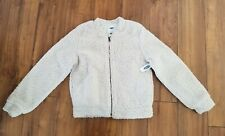 OLD NAVY Faux Fur Sherpa Zip Front Bomber Jacket GIRLS SZ XL (14) Ivory NWT  $35