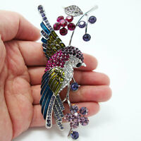 Vintage Style Swallow Bird Flower Brooch Pin Rhinestone Crystal Multi Enamel