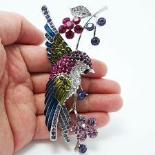 Vintage Style Swallow Bird Flower Brooch Pin Rhinestone Crystal Multi Enamel