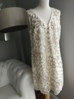 Monsoon cream v neck sleeveless wedding cruise dress in size 16. new with tags