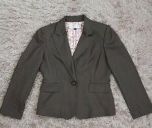 Tahari Petite Womens Brown Long Sleeve One Button Single Breast Blazer Jacket 8P