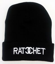 RATCHET BEANIE HAT (BLACK WITH WHITE LOGO) Free Shipping USA