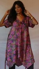 pink tunic top dress -M L 1X 2X button batik ties a line zz666
